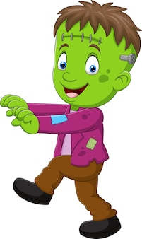 Personagem de criança zumbi de halloween de desenho animado