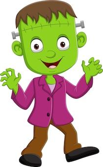 Personagem de criança zumbi do dia das bruxas de desenho animado