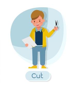 Personagem de crianças. cortar papel.