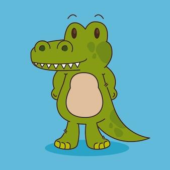 Personagem de crocodilo bonito e pequeno
