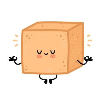 Personagem de cubo de açúcar de cana marrom fofinho meditar