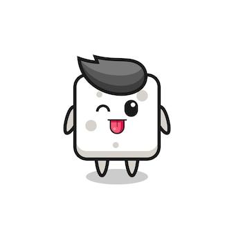 Personagem de cubo de açúcar fofa em doce expressão enquanto mostra a língua, design de estilo fofo para camiseta, adesivo, elemento de logotipo