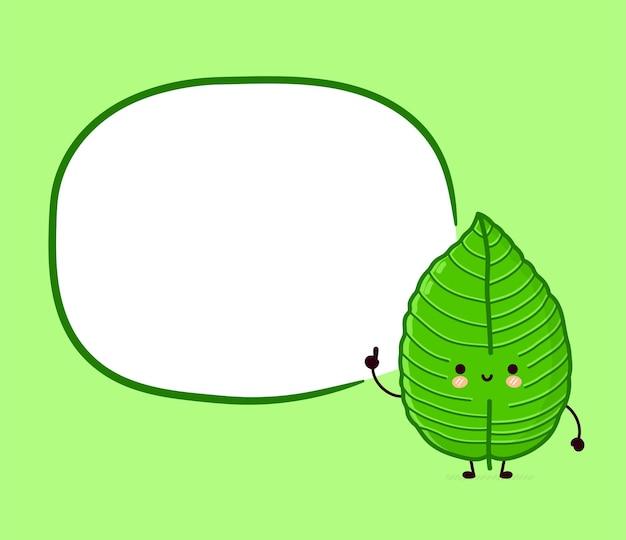Personagem de cubo de folha kratom feliz engraçado fofo com caixa de texto