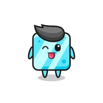 Personagem de cubo de gelo fofa com expressão doce enquanto mostra a língua, design de estilo fofo para camiseta, adesivo, elemento de logotipo