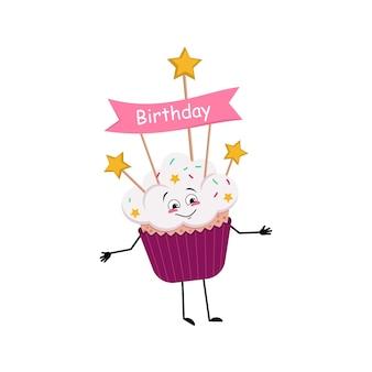 Personagem de cupcake com emoções alegres, rosto sorridente, dança, olhos, braços e pernas felizes