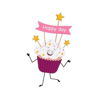 Personagem de cupcake com emoções alegres sorriso rosto dançando olhos felizes