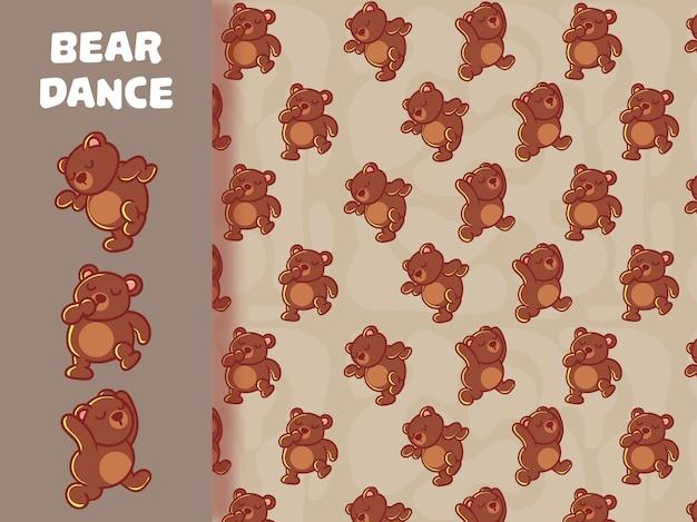 Personagem de dança urso fofo e padrão sem emenda.