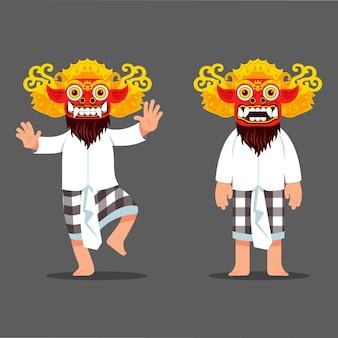 Personagem de dançarina de máscara tradicional espírito mal de bali