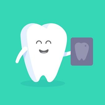 Personagem de dente bonito dos desenhos animados com rosto, olhos e mãos. o conceito para o personagem de clínicas, dentistas, cartazes, sinalização, sites da web.