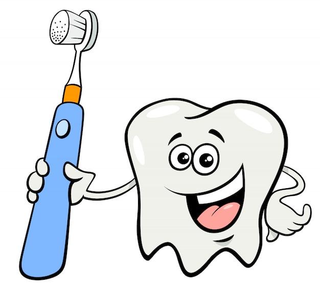 Personagem de dente com desenhos animados de escova de dentes