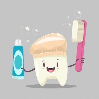 Personagem de dente feliz com uma escova de dentes