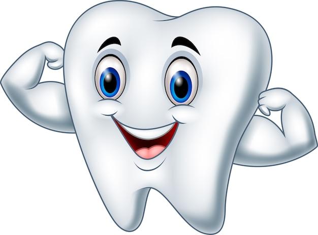 Personagem de dente forte dos desenhos animados