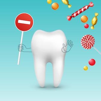 Personagem de dente vetorial com sinal de stop contra diferentes doces, bombons e pirulitos