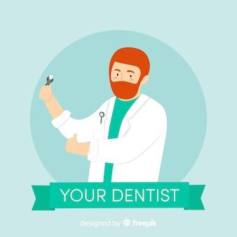 Personagem de dentista plana