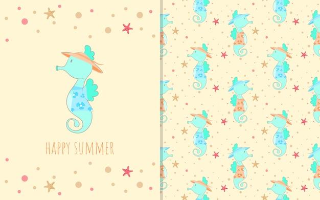 Personagem de desenho animado adorável cavalo marinho pequeno, ilustração e padrão sem emenda