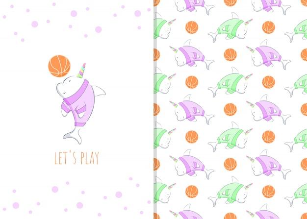 Personagem de desenho animado adorável pequeno golfinho com bola de basquete, ilustração e padrão sem emenda