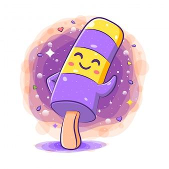 Personagem de desenho animado adorável sorvete