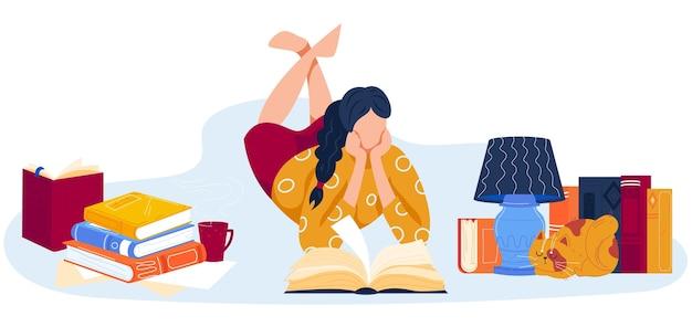 Personagem de desenho animado amante de livros mentindo
