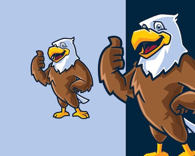 Personagem de desenho animado amigável de hawk bird