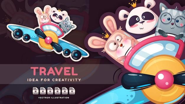 Personagem de desenho animado amigo animal viajando