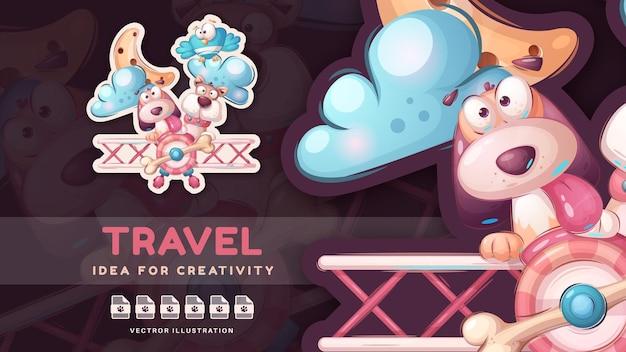 Personagem de desenho animado amigo de viagem feliz - adesivo fofo