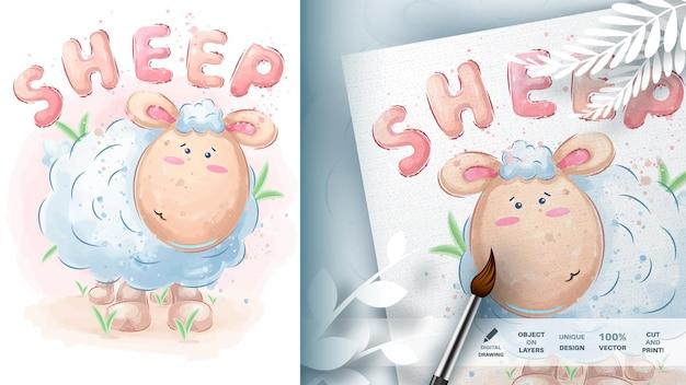 Personagem de desenho animado animal de pelúcia ovelha
