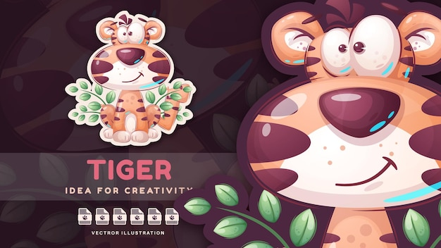 Personagem de desenho animado animal tigre de pelúcia