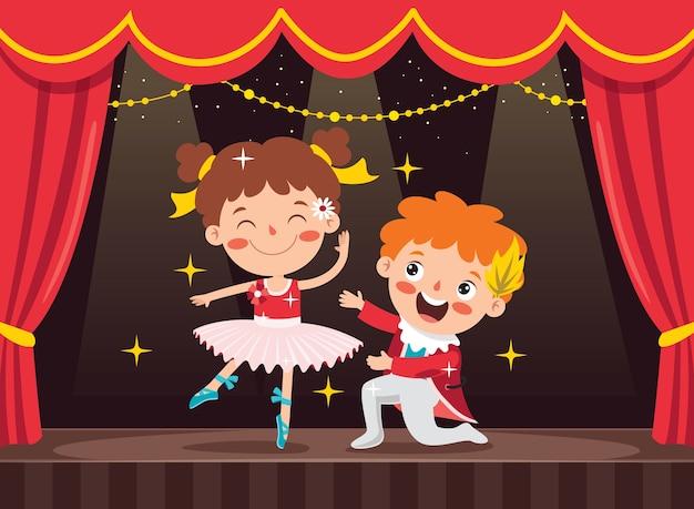 Personagem de desenho animado apresentando balé clássico