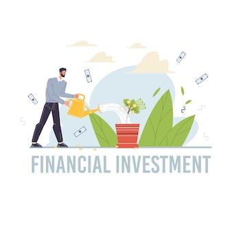 Personagem de desenho animado aumenta os lucros e colhe receitas de dinheiro - conceito de investimento financeiro para web online, site
