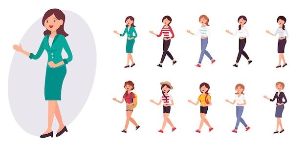 Personagem de desenho animado banco recepcionista escritório senhora uniformizada dá as boas-vindas à coleção do cliente
