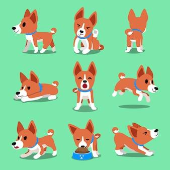 Personagem de desenho animado basenji cão poses conjunto