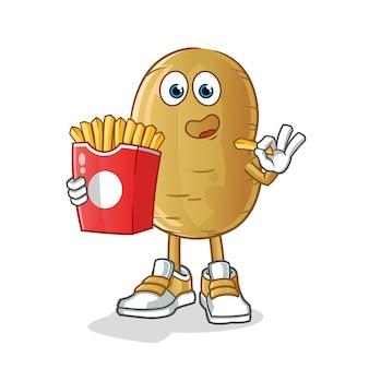 Personagem de desenho animado batata comer batatas fritas