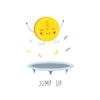 Personagem de desenho animado bitcoin pulando em um trampolim