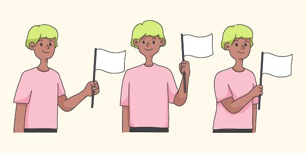 Personagem de desenho animado bonito acenando o conceito de bandeira