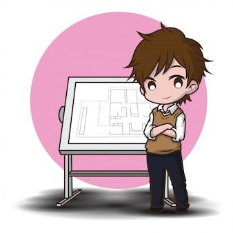 Personagem de desenho animado bonito arquiteto.