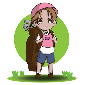 Personagem de desenho animado bonito caddie