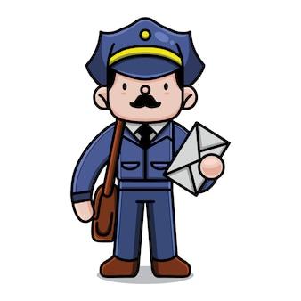 Personagem de desenho animado bonito carteiro
