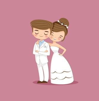 Personagem de desenho animado bonito casal de noivos
