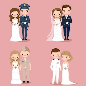 Personagem de desenho animado bonito casal militar e exército