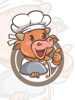 Personagem de desenho animado bonito chef vaca - mascote e ilustração
