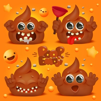 Personagem de desenho animado bonito cocô kawaii. coleção de emoticons emoji.