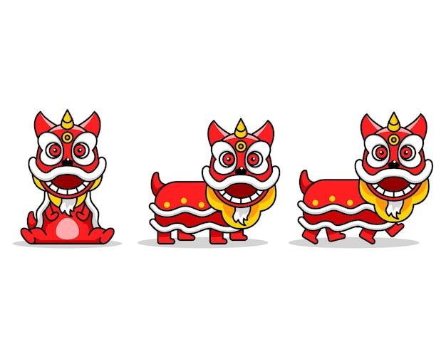 Personagem de desenho animado bonito dança do leão chinês