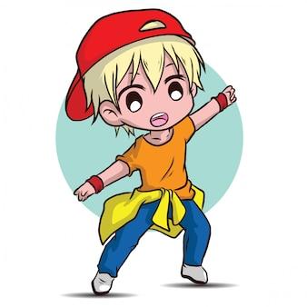 Personagem de desenho animado bonito dançarino