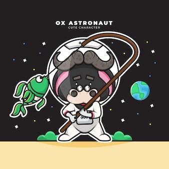 Personagem de desenho animado bonito de boi astronauta está pescando
