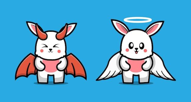 Personagem de desenho animado bonito de casal coelho do diabo e coelho anjo
