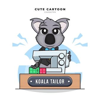 Personagem de desenho animado bonito de coala costurando usando uma máquina de costura
