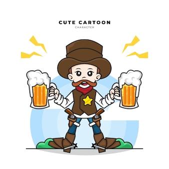 Personagem de desenho animado bonito de cowboy segurando duas cervejas