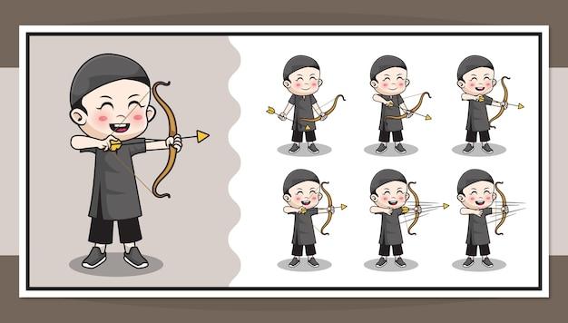 Personagem de desenho animado bonito de menino muçulmano fazendo arco e flecha com animação passo a passo