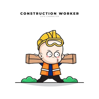 Personagem de desenho animado bonito de trabalhador da construção civil bebê carregando madeira