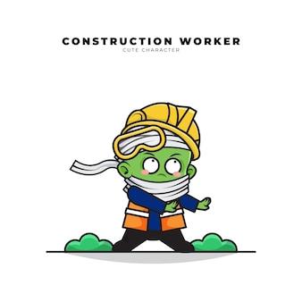 Personagem de desenho animado bonito de trabalhador da construção civil mumificado